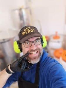 Gert Smet, owner of Blacksmith's Meadery in Antwerp, in a GotMead hat